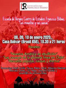 """Escuela de Verano Centro de Estudios Francisco Bilbao. """"Las revueltas y sus causas"""". 8 al 10 de Enero Casa Bolívar"""