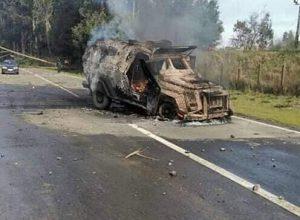 Wallmapu: Arde carro lanzagases durante manifestación en Cañete