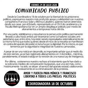 Declaración de la Coordinadora 18 de octubre por la  detención de Francisco Solar y Mónica Caballero