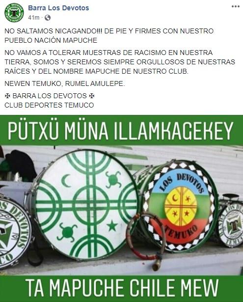 Fútbol crítico: Barras que apoyan al pueblo mapuche y equipo que reivindica las raíces andinas