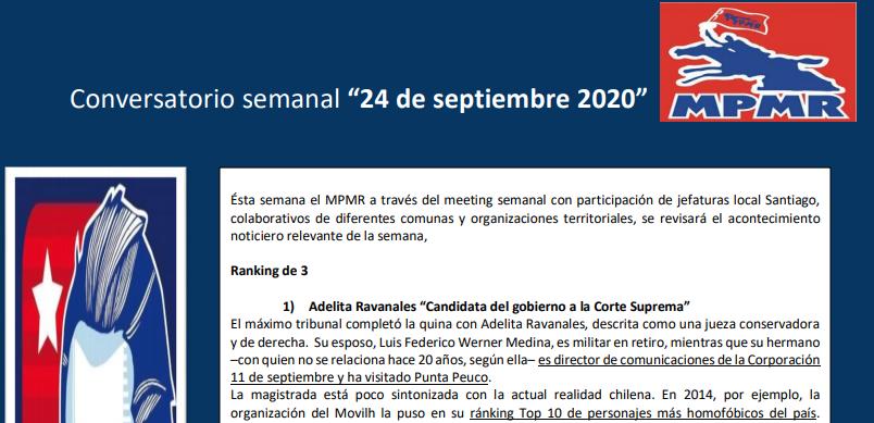 MPMR: Conversatorio semanal 24 de septiembre 2020.