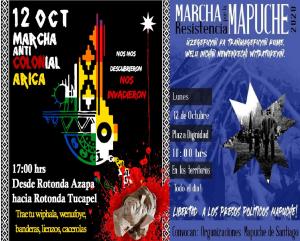 12 octubre: Santiago, 11 horas Plaza de la Dignidad, Arica 17 horas Rotonda Azapa