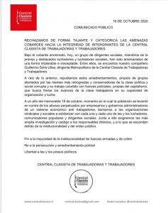 Central Clasista denuncia y rechaza amenazas contra dirigente de la Central y comunicadores sociales