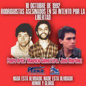 10 de octubre, fuga y asesinato de los rodriguistas Pedro Ortiz Montenegro, José Miguel Martínez y Mauricio Gómez Lira