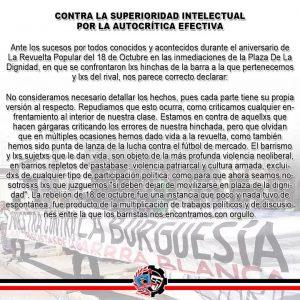 Antifascistas de la Garra Blanca: Contra la superioridad intelectual, Por la auto-critica efectiva