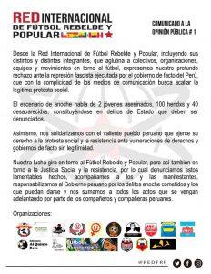 Red Internacional de Fútbol Rebelde rechaza la represión en Perú