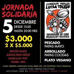 5 de diciembre:  Jornada solidaria Comedor Popular Luisa Toledo.